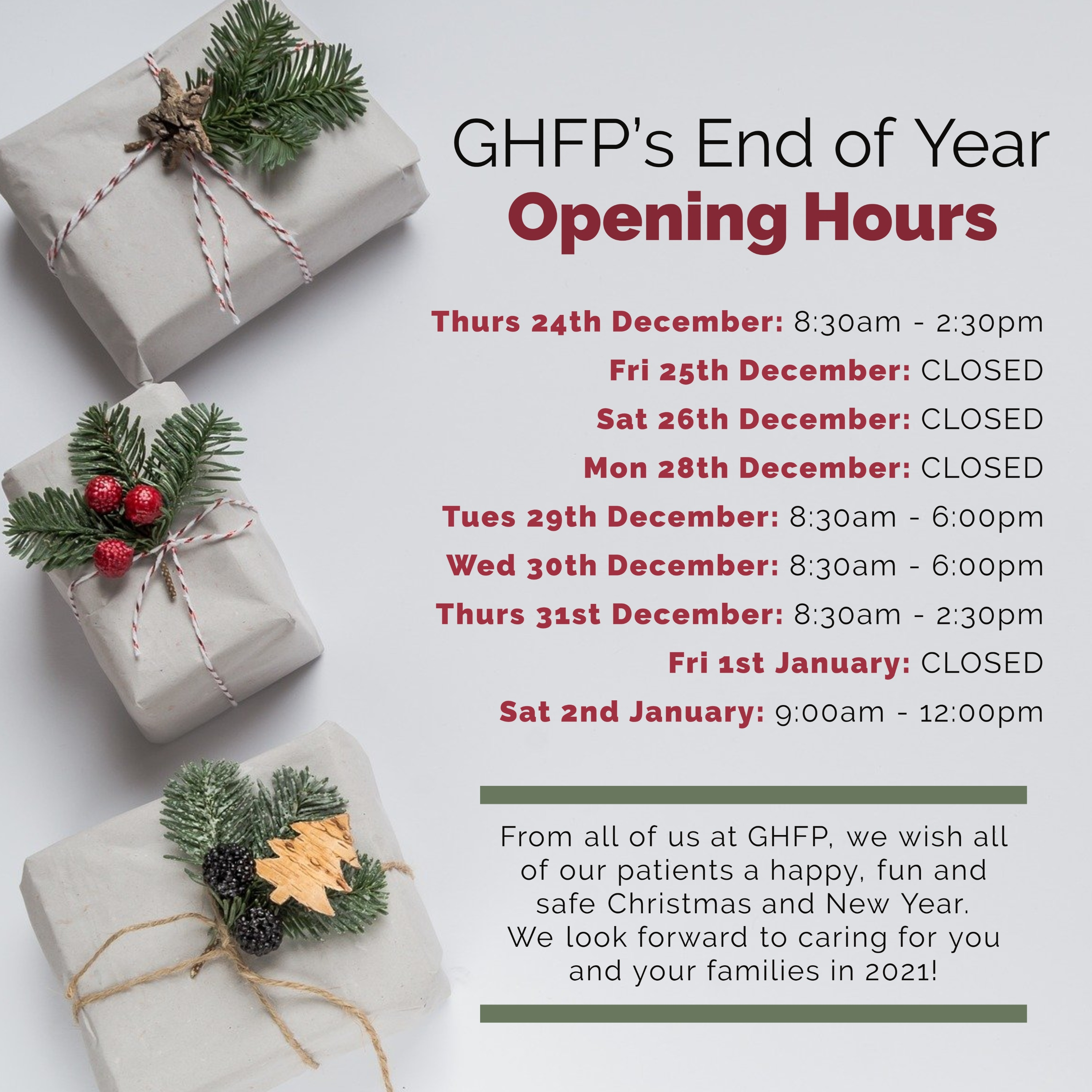 Glebe Hill Family Practice - Christmas Open Hours 2020